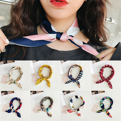 Hot Women Square Silk Feel Satin Scarf Small Vintage Head-Neck Hair Tie Band