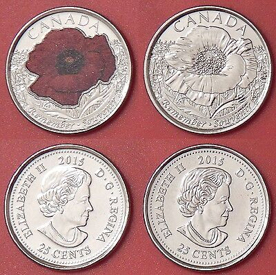 Brilliant Uncirculated 2015 Canada Poppy Color & Plain 25 Cents From Mint's Roll