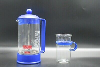 The original French Coffee Press Bodum 1 litre Plus Cup in Blue Cafetiere *A3*