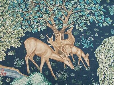 William Morris Curtain/Upholstery Fabric 'THE BROOK' 1.5 METRES Tapestry Blue