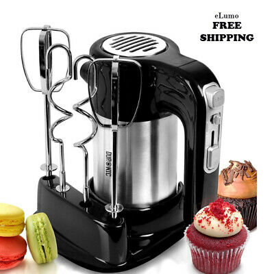 Electric Hand Mixer Blender Set 3 Attachments whisk cake dough bowl 5speed stand