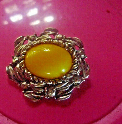 Estate Yellow Vintage Brooch Costume Cabochon- 2 Post Free