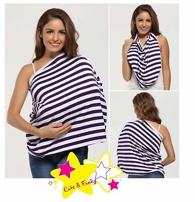Brand New Breastfeeding Wrap/Cover Purple with White Stripes