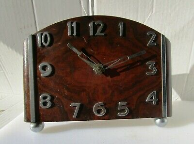 Stunning Art Deco Timber and Chrome Clock from UNKNOWN MAKER