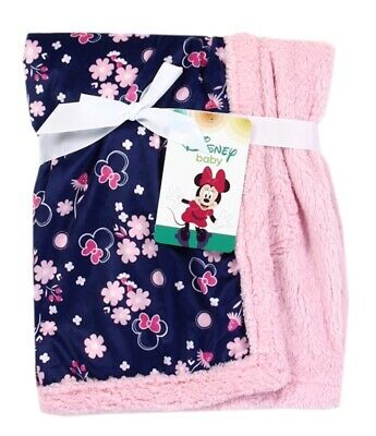 Brand New MINNIE MOUSE Soft Mink/Sherpa Baby Blanket Floral