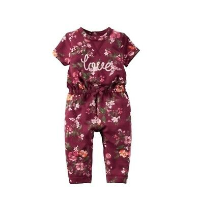 Brand New Infant Girls Floral Jumpsuit - Burgundy
