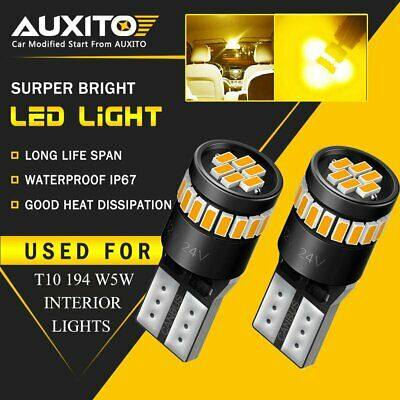 2X Auxito T10 501 W5W Canbus 24Smd Amber Led Sidelight Parking Sidemarker Bulbs