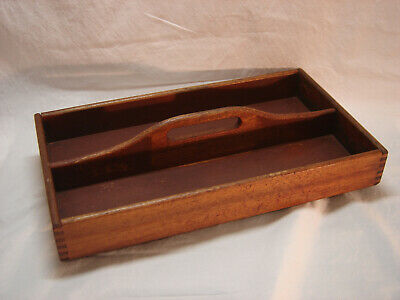 Vintage Timber Cutlery Tray with Dovetailed Corners