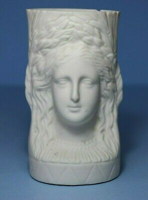 Victorian Parian Relief moulded spill vase Double headed