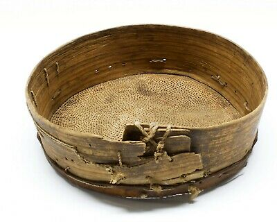 Antique Primitive Wooden Flour Sieve Shifter With Leather Strainer Bottom