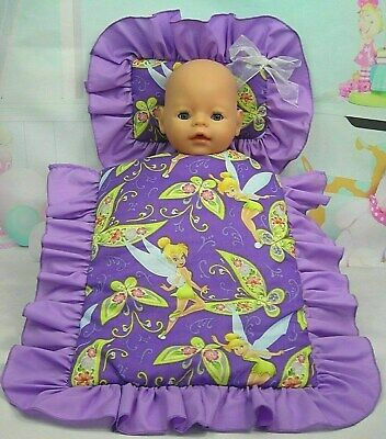 Dolls~Purple Tinkerbell Fairy~ Pillow & Quilt Cover Set~For  Bed~Cot~Pram~Cradle