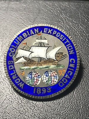 Exceptionally Rare Enameled Columbian Exposition Half Dollar- Multi-color