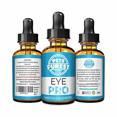 Pets Purest 100% Natural Eye Wash Drops For Dogs, Cats & Pets   Powerful & Fa...