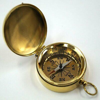Brass Pocket Compass with Lid-- Golden Dial
