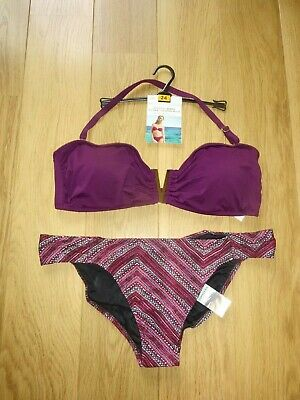 Marks & Spencer Berry Mix Bandeau Bikini Uk Size 24 Top Uk Size 22 Bottoms