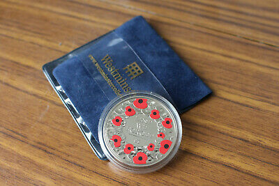 2015 Jersey  £5 Lest We Forget Remembrance Poppy Coin in Capsule