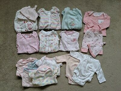 Joblot Bundle Of Baby Girl Tiny Baby Items Sleep Suits Vests Outfit Hats So Cute