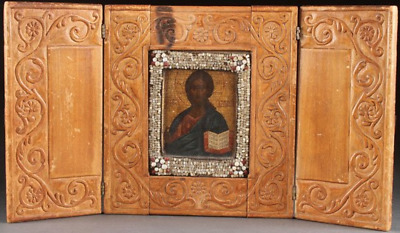 EARLY 19th CENTURY ANTIQUE RUSSIAN ABRAMSTEVO ICON TRIPTYCH OF CHRIST