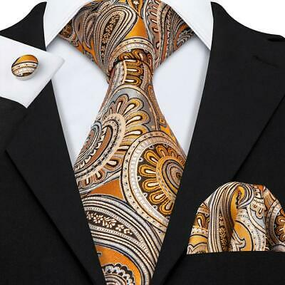Classic Mens Gold Yellow Paisley Silk Tie Set Woven Floral Necktie Wedding Party