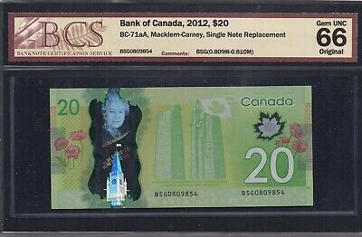 BC-71aA 2012 $20 BSG 0909854 Single Note Replacement (SNR) BCS GemUnc-66 Origina
