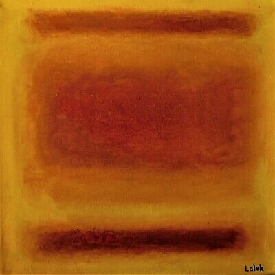 """Original colorful abstract oil painting, signed, by Nalan Laluk:""""Sunset"""""""