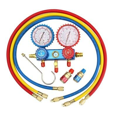 Auto Manifold Gauge Set A/C R134A Refrigerant Charging Hose With 2 Quick Co L6D2