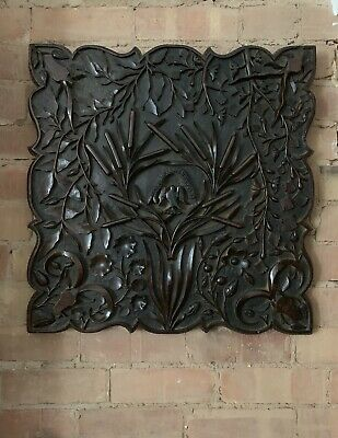 Antique North European Hand Carved Oak Panel With Family Crest 18Th/19Th Century