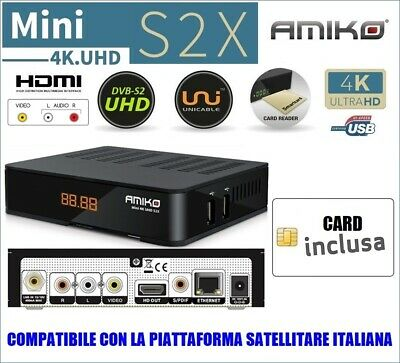 Decoder Tivu'sat Compatibile Satellitare Amiko Mira Wi-FI HD con Card Tivusat