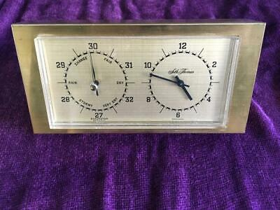 Genuine Vintage Seth Thomas Desk Clock and Barometer in Brass Case