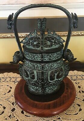 Ancient China Bronze Ware Portable Wineware ZUN Cup Dragon, Ram & Water Buffalo