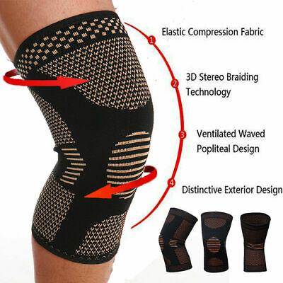 Copper Infused Leg Brace Magnetic Knee Compression Sleeve Support Pain Reli L9X0