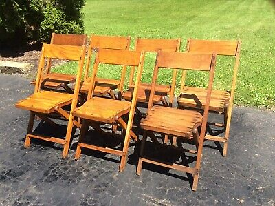 7 Same Vintage Adult Size Snyder Wood Folding Chairs -  Very Good