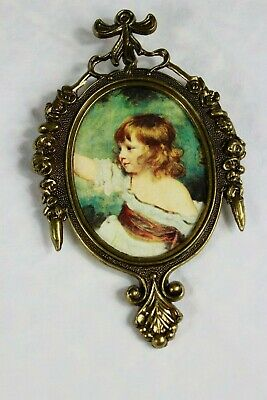 "Vintage 6.5"" Ornate Oval Metal Frame Wall Picture Victorian Girl Made In Italy"