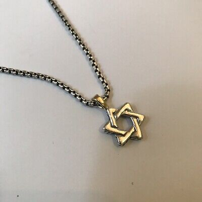 b68b301b7447 David Yurman Sterling Silver 18k Gold Cable Star of David Pendant Chain  Necklace