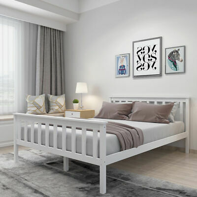 White Double 4ft6 Wooden Bed Frame Home Strong Solid Modern Stylish Bedstead DIY