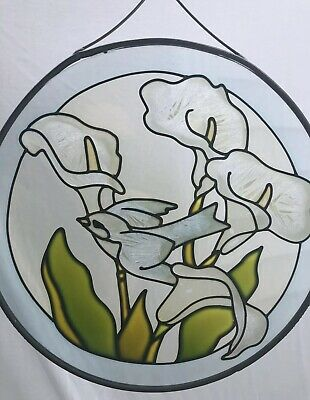 Vintage Painted Stained Glass Bird & Flowers Hanging Window Suncatcher Beautiful