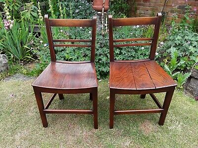 Pair of Antique Georgian c1800 Elm Country Chairs