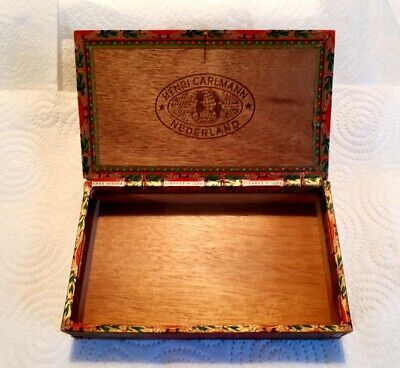 Beautiful Condition Vintage Antique Henri Carlmann Nederland Wooden Cigar Box.