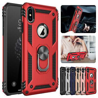 For iPhone XS Max XR 8 Rugged Heavy Duty Hybrid Ring Stand Case Shockproof Cover