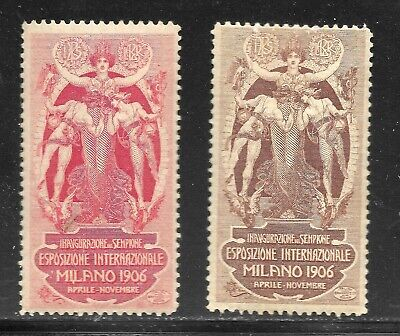 Italy 1906 Milan International Expo/World's Fair -  2 Promotional Stamps MH/MLH