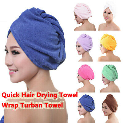 Womens Quick Hair Drying Towel Wrap Turban Towel Head Hat Dry Microfiber Bun Cap