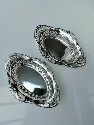 Pair Of Small Antique Silver Plated Dishes Sweets Bon Bons
