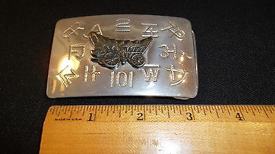 """Vintage Western Silver Belt Buckle Branding Covered Wagon Chambers 2"""" x 3"""""""