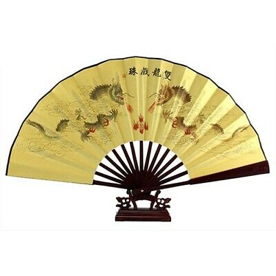 Dragon Poem Oriental Painting Rosewood Bamboo Ribs Folding Hand Fan S4Y5