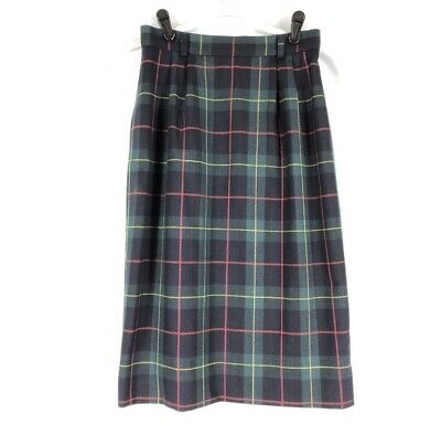 4cc3680e6777 VTG 80s Womens Midi Skirt Size 2 Petites Wool Plaid Tartan Pleated Waist