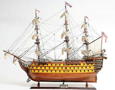 "HMS Victory Admiral Nelson Flagship Tall Ship 37"" Painted Assembled Wood Model"