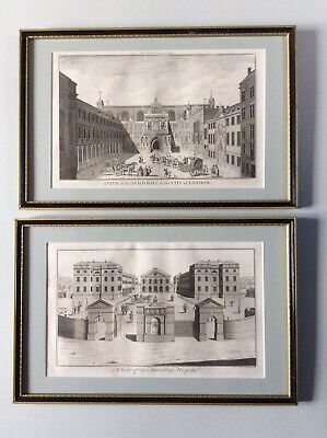 Pair of framed 18th Century engravings: Guild Hall & Foundling Hospital (R Cole)
