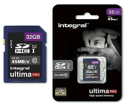 Integral Ultima Pro 32GB SDHC Memory Card Class 10 45MB/s Fast Speed SD Card HD