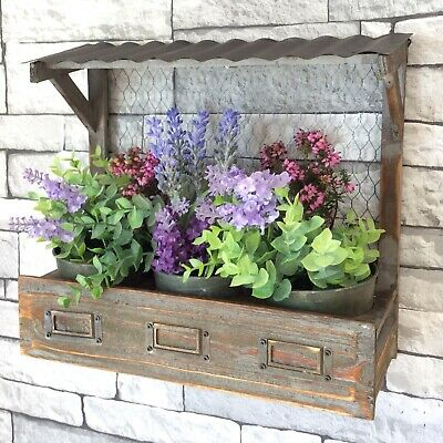 Shabby Chic Vintage Style Wooden Wall Planter Pots Herb Window Box Garden Plant