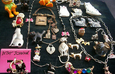 Lot Of Vintage/Now Costume Jewelry All Cats & Dogs Variety Cute